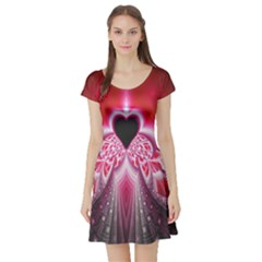 Illuminated Red Hear Red Heart Background With Light Effects Short Sleeve Skater Dress