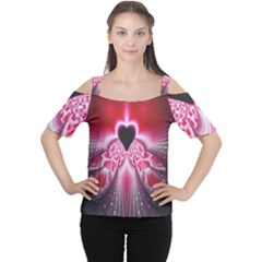 Illuminated Red Hear Red Heart Background With Light Effects Women s Cutout Shoulder Tee