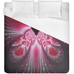Illuminated Red Hear Red Heart Background With Light Effects Duvet Cover (king Size)