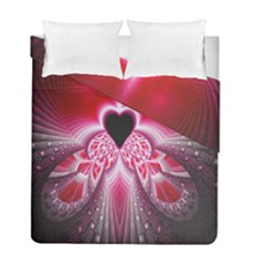 Illuminated Red Hear Red Heart Background With Light Effects Duvet Cover Double Side (full/ Double Size)