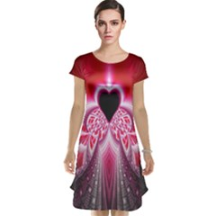 Illuminated Red Hear Red Heart Background With Light Effects Cap Sleeve Nightdress