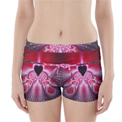 Illuminated Red Hear Red Heart Background With Light Effects Boyleg Bikini Wrap Bottoms