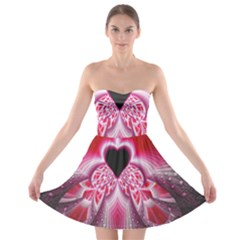 Illuminated Red Hear Red Heart Background With Light Effects Strapless Bra Top Dress