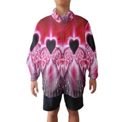Illuminated Red Hear Red Heart Background With Light Effects Wind Breaker (Kids)