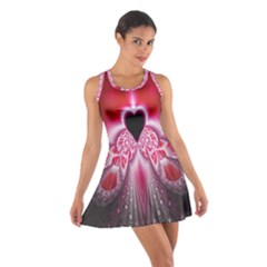 Illuminated Red Hear Red Heart Background With Light Effects Cotton Racerback Dress