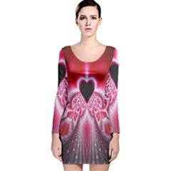 Illuminated Red Hear Red Heart Background With Light Effects Long Sleeve Velvet Bodycon Dress