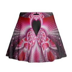 Illuminated Red Hear Red Heart Background With Light Effects Mini Flare Skirt