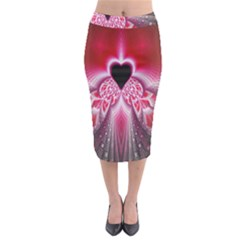 Illuminated Red Hear Red Heart Background With Light Effects Midi Pencil Skirt