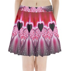 Illuminated Red Hear Red Heart Background With Light Effects Pleated Mini Skirt