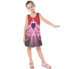 Illuminated Red Hear Red Heart Background With Light Effects Kids  Sleeveless Dress