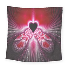 Illuminated Red Hear Red Heart Background With Light Effects Square Tapestry (large)