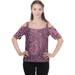 Abstract Purple Background Natural Motive Women s Cutout Shoulder Tee