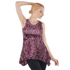Abstract Purple Background Natural Motive Side Drop Tank Tunic