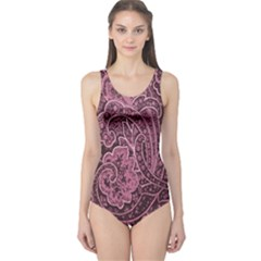 Abstract Purple Background Natural Motive One Piece Swimsuit
