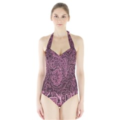 Abstract Purple Background Natural Motive Halter Swimsuit