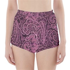 Abstract Purple Background Natural Motive High Waisted Bikini Bottoms