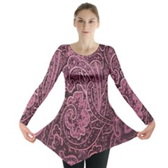 Abstract Purple Background Natural Motive Long Sleeve Tunic