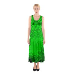 Leaf Outline Abstract Sleeveless Maxi Dress