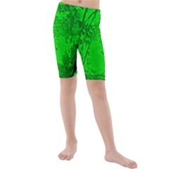 Leaf Outline Abstract Kids  Mid Length Swim Shorts