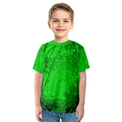 Leaf Outline Abstract Kids  Sport Mesh Tee