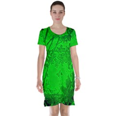 Leaf Outline Abstract Short Sleeve Nightdress