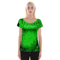 Leaf Outline Abstract Women s Cap Sleeve Top