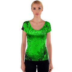 Leaf Outline Abstract Women s V-Neck Cap Sleeve Top