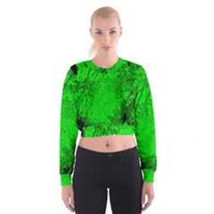 Leaf Outline Abstract Women s Cropped Sweatshirt