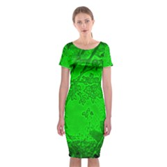 Leaf Outline Abstract Classic Short Sleeve Midi Dress