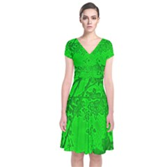 Leaf Outline Abstract Short Sleeve Front Wrap Dress