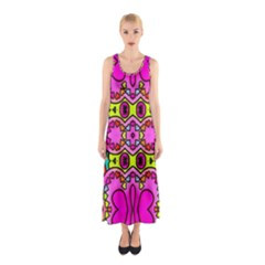 Colourful Abstract Background Design Pattern Sleeveless Maxi Dress