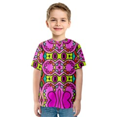 Colourful Abstract Background Design Pattern Kids  Sport Mesh Tee