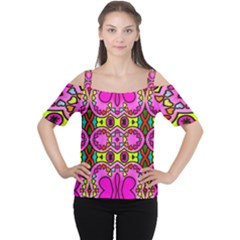 Colourful Abstract Background Design Pattern Women s Cutout Shoulder Tee