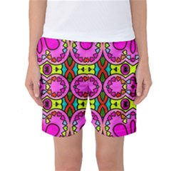 Colourful Abstract Background Design Pattern Women s Basketball Shorts