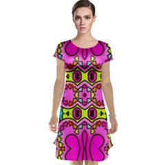 Colourful Abstract Background Design Pattern Cap Sleeve Nightdress