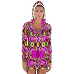 Colourful Abstract Background Design Pattern Women s Long Sleeve Hooded T Shirt