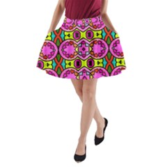 Colourful Abstract Background Design Pattern A Line Pocket Skirt