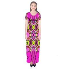 Colourful Abstract Background Design Pattern Short Sleeve Maxi Dress