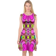 Colourful Abstract Background Design Pattern Capsleeve Midi Dress
