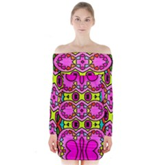 Colourful Abstract Background Design Pattern Long Sleeve Off Shoulder Dress