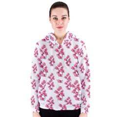 Santa Rita Flowers Pattern Women s Zipper Hoodie