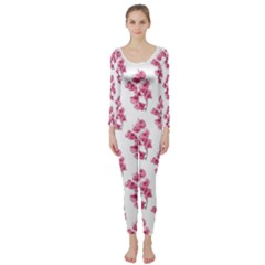 Santa Rita Flowers Pattern Long Sleeve Catsuit