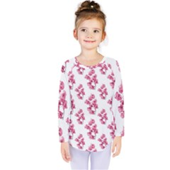 Santa Rita Flowers Pattern Kids  Long Sleeve Tee