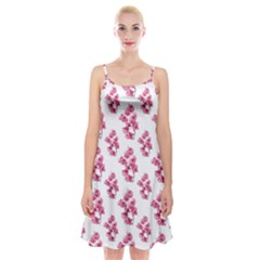 Santa Rita Flowers Pattern Spaghetti Strap Velvet Dress