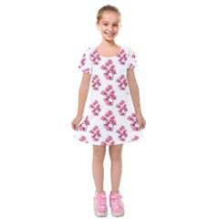 Santa Rita Flowers Pattern Kids  Short Sleeve Velvet Dress