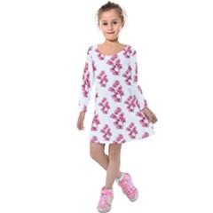 Santa Rita Flowers Pattern Kids  Long Sleeve Velvet Dress