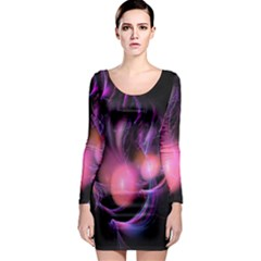 Fractal Image Of Pink Balls Whooshing Into The Distance Long Sleeve Bodycon Dress