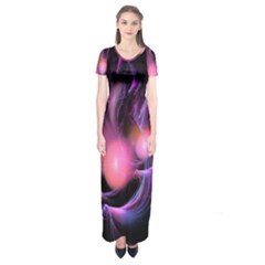 Fractal Image Of Pink Balls Whooshing Into The Distance Short Sleeve Maxi Dress