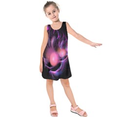 Fractal Image Of Pink Balls Whooshing Into The Distance Kids  Sleeveless Dress