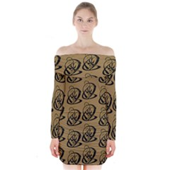 Art Abstract Artistic Seamless Background Long Sleeve Off Shoulder Dress